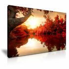 AUTUMN FOREST Red Leaves River Canvas Wall Art Picture Print ~ More Size
