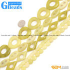 Natural Gemstone Lemon Jade DIY Jewelry Crafts Making Stone Loose Beads 15""