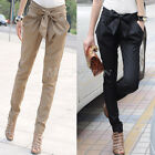 Women Pencil Harem Long Pants Trousers OL Skinny Casual Slim Bow-knot S M L XL