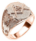 14k Solid Rose Gold Masonic Men's Ring Scottish Rite
