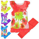 Girls Chiffon Bright Floral Top And Lace Bottom Legging Set New Ages 2-10 Years