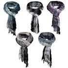 MENS STRIPED PRINT SCARF LONG LIGHTWEIGHT WRAP CRINKLED & FRINGED SHAWL SCARVES