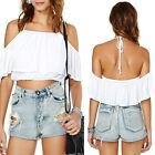 May&Maya Elastic Off-the Shoulder with Ruffle Detail Crop Top Shirt Tee Blouse