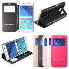 Smart Window View Flip Leather Metal SLIDE Hybrid Cover Case Stand For Samsung