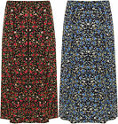 Plus Size Womens Floral Print Stretch Long Midi Ladies Elasticated Flower Skirt