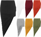 New Womens Ruched Gathered Side Slit Open Stretch Plain Ladies Elasticated Skirt