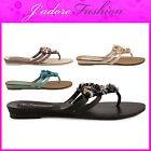 NEW LADIES SUMMER FLAT FLIP FLOP TOE POST BEADED SEA SHELL SANDALS SIZES UK 3-8