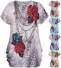 Womens Plus Size Floral Rose Sequin Printed Ladies Cap Sleeve Baggy T-Shirt Top