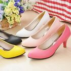 New Synthetic Leather Women Shoes Party Thick Med Heel Simple Clean US Size s153