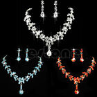 Brighting Prom Wedding Bridal Crystal Rhinestone Necklace Earrings Jewelry Sets
