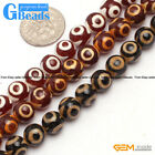 8mm Round Gemstone Dzi  DIY Crafts Making Tibet Agate Loose Beads Strand 15""