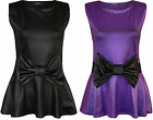 New Womens Wet Look Shiny Bow Frill Sleeveless Ladies Party Peplum Top 8 - 14