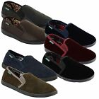 Mens Dunlop Velour Twin Gusset Sippers Gents Slip On Winter Hard Sole Shoes Size
