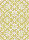 Metro Yellow Contemporary Curls Swirls Diamonds Leaves All-Over 1103 Area Rug