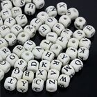100Pcs Wood Beads Letters Print Cube Mixed White Jewelry Make Findings 8X8MM