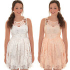 Womens Sleeveless Floral Lace Lined Flare Skater Frock Flared Party Mini Dress