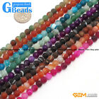 Colorful Stripe Agate Onyx Gemstone Frost Matte Round Beads Free Shipping 15""