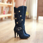 Fashion Cool Womens Sexy Stiletto High Heels Buckle Strap Knee High Riding Boots