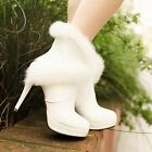 Sexy Womens Round Toe Faux Fur Trim ankle boots High Heels Platform Party Boot