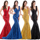 STOCK V Mermaid Fishtail Long Wedding Sequins Prom Evening Formal Gown Dress