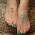 Hot 1X Three Turquoise Stones Foot Link Barefoot Sandal Multi Chain Anklet New