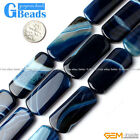 16x38mm Rectangle Gemstone Banded Agate DIY Crafts Making Loose Bead Strand 15""