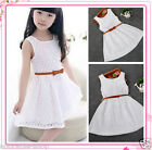 Beautiful Girls Skater Dress Kids Lace Dresses Belted Outfit Size 2-3-4-5-6-7-8Y