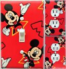 Mickey Mouse on red custom Light Switch and wall plate covers room decor