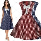 Womens Retro 50's Rockabilly Cockail Evening Party Dresses Swing Skater Skirts
