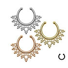 Hot Multi-style Clip On Fake Septum Crystal Clicker Non Piercing Nose Ring Hoop