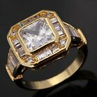 Princess Cut Size8,9,10,11 Woman's 18K Gold Filled White Topaz Engagement Rings
