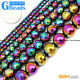 "Colorful Rainbow Hematite Faceted Round Beads Free Shipping 15"" 2mm 4mm 6mm 8mm"