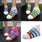 Ladies Canvas Striped Color Casual Hi Top Plimsole Sneakers Trainers Shoes V18