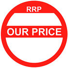 Blank Red Our Price Point Stickers Sticky Swing Tag Labels 20mm To 45mm