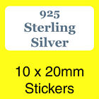 Jewellers Sterling Silver 925 Stickers, Labels - Ideal To Use In Jewellery Boxes