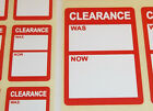 Bright Red Clearance Was / Now Price Point Stickers Swing Tag Sticky Labels