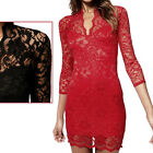 Elegant Womens Sexy V neck Pencil Fit Mini Slim Lace Dress Cocktail Casual Party