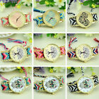Womens Braided Weaved Heart Life tree Skull Wrist Watch Bracelet Ladies Gift