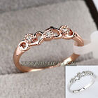 Heart Fashion Band Ring 18KGP CZ Rhinestone Crystal Size 5.5-9