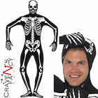 Mens Skeleton Second Skin Halloween Fancy Dress Costume Adult Glow in the Dark