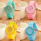 Jelly Candy Gold Color Silicone Rubber Geneva Quartz Crystal Stone Wrist Watch