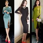 Women's New Low Cut Boat Neck Soiree Cocktail Party Bodycon Dress Club High Slit