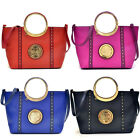 Dasein Studded Zip Accent Emblem Satchel Purse with Shoulder Handbag Tablet Bag