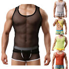 C8 US New Mens Sexy Undershirt Vest See Through Mesh Tank Slim Sportswear M L XL