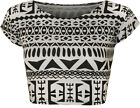 New Womens Tribal Aztec Monochrome Print Cap Sleeve Short Ladies Crop Top 8-14