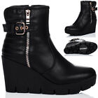 WOMENS BIKER CLEATED SOLE WEDGE HEEL ANKLE BOOTS SHOES SZ 3-8