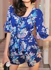 js2 Celebrity Fashion Vintage short Sleeve V Neck Floral Print Romper Playsuit