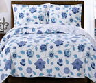 COTTAGE Blue Purple Floral LIGHTWEIGHT REVERSIBLE Quilt COVERLET Set OVERSIZED image