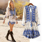 js38 Celebrity Fashion Vintage 3/4 Sleeve Slouchy Tribal Print Romper Playsuit