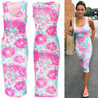 Sexy Summer Lady Bodycon Party Evening Cocktail Long Vest Pencil Midi Dress 8-14